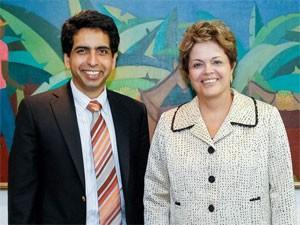 O professor americano Salman Khan, após encontro com a presidente Dilma Rousseff (Foto: Divulgação/Roberto Stuckert Filho/PR)