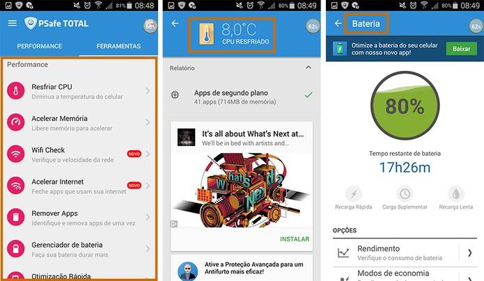 Ferramentas para a performance do celular no app PSafe Total (Foto: Reprodução/Barbara Mannara)