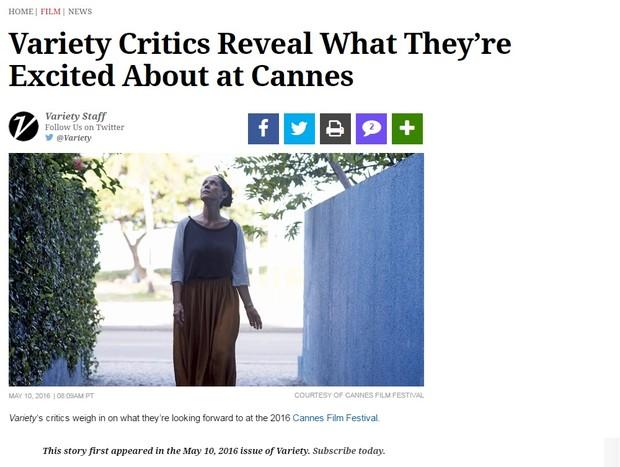 Filme Aquarius, com Sonia Braga, ganha destaque na revista Variety (Foto: Reprodução)