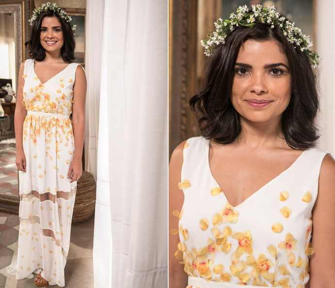 Tóia usa pétalas de flores no vestido para o casório com Juliano (Foto: Inácio Moraes/ Gshow)