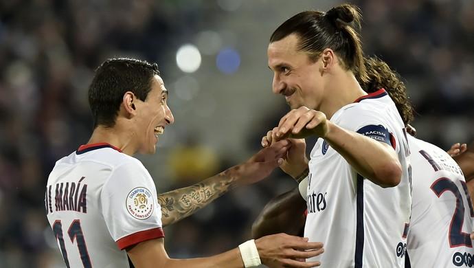 Di María Ibrahimovic Bordeaux x PSG (Foto: AFP)