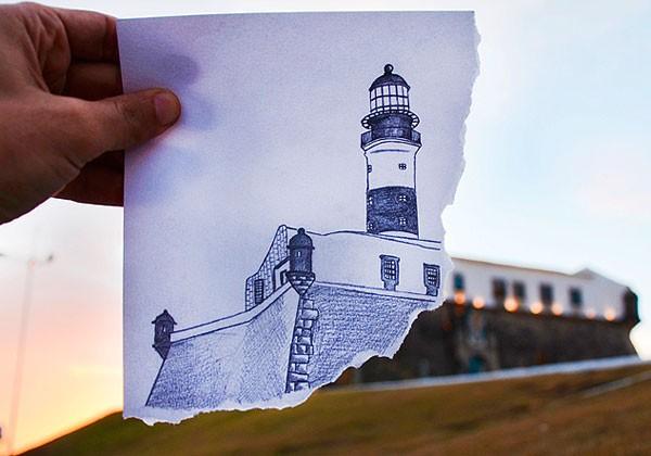 Baiano cria projeto com fotos de 365 diferentes ângulos do Farol da Barra (Foto: Tunisio Alves Filho/ Arquivo Pessoal)