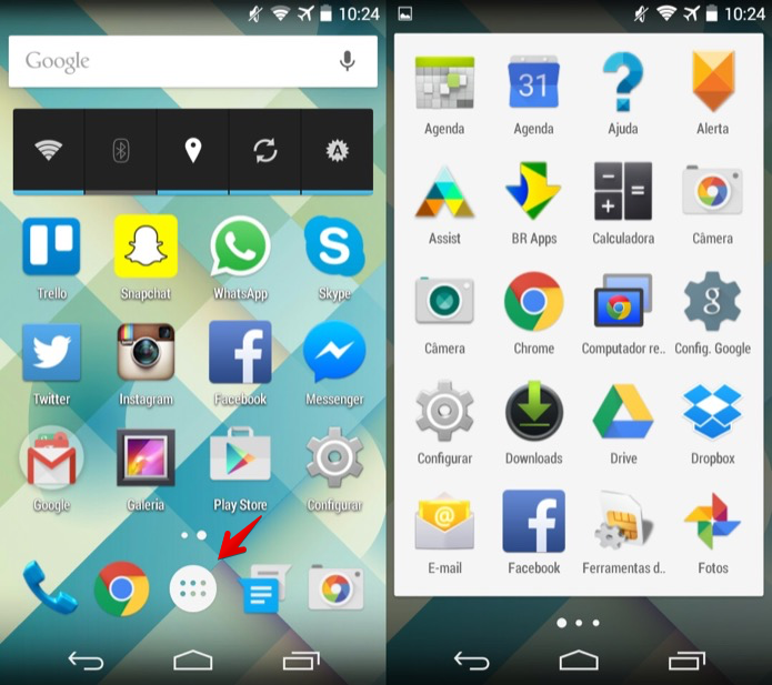 Acesse o menu de aplicativos do Android (Foto: Reprodução/Helito Bijora)