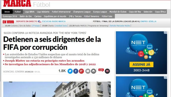 Reprodução Jornal Marca espanha escândalo FIFA (Foto: Editoria de Arte)