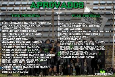 Lista de aprovados na seletiva do Campo Grande Gravediggers Predadores (Foto: Divulgação/CG Predadores Gravediggers)