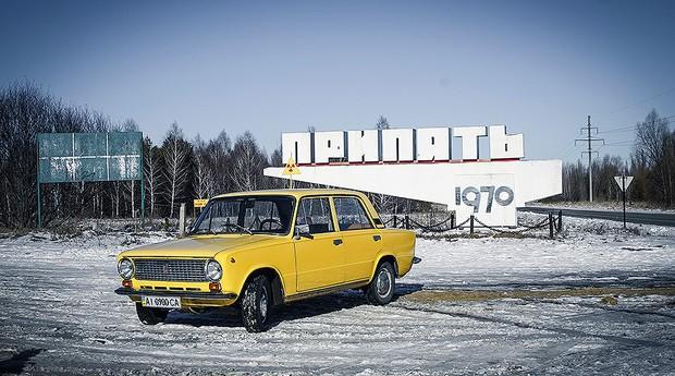 Lada 200 S foi o carro da aventura nas ruas abandonadas de Chernobyl (Foto: Guilber Hidaka/Bufalos)