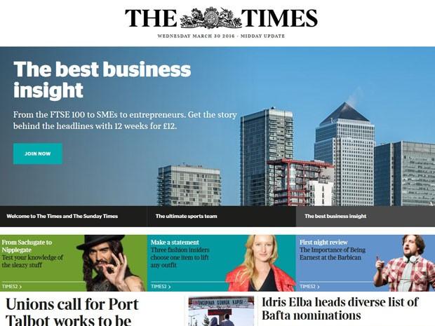 Versão digital da Times. (Foto: Reprodução/TheTimes)
