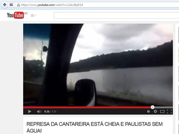 Vídeo publicado na internet mostra represa do Sistema Cantareira cheia em Mairiporã (Foto: Reprodução Youtube)