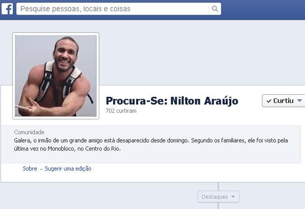 Página no Facebook concentra informações sobre o paradeiro de Nilton (Foto: Reprodução/Facebook)