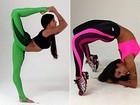 Aline Riscado mostra sua elasticidade e fala de moda fitness: 'Sou viciada'