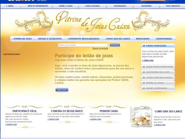 Joias ficam expostas no site Caixa Econômica Federal até o dia do leilão (Foto: Reprodução /Caixa Econômica Federal)