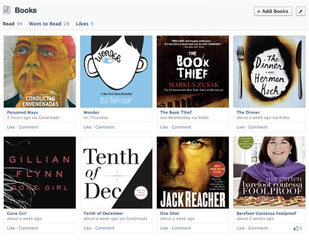 Nova área para compartilhamento de livros no Facebook (Foto: Reprodução)