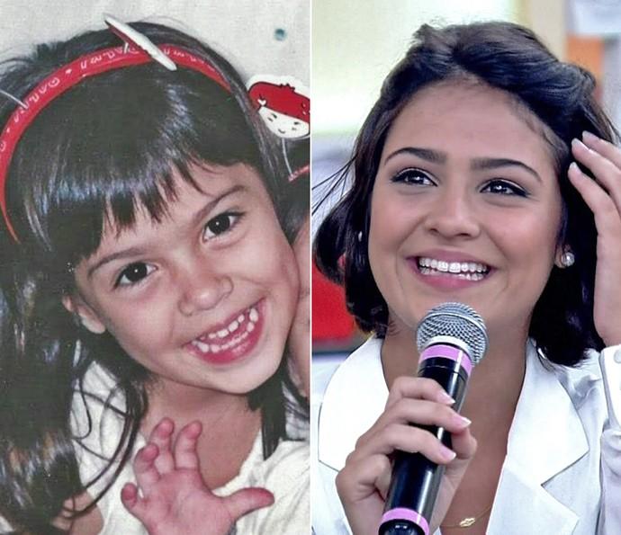 Antes e depois de Giullia Buscacio (Foto: Arquivo pessoal / Encontro com Fátima Bernardes / TV Globo)