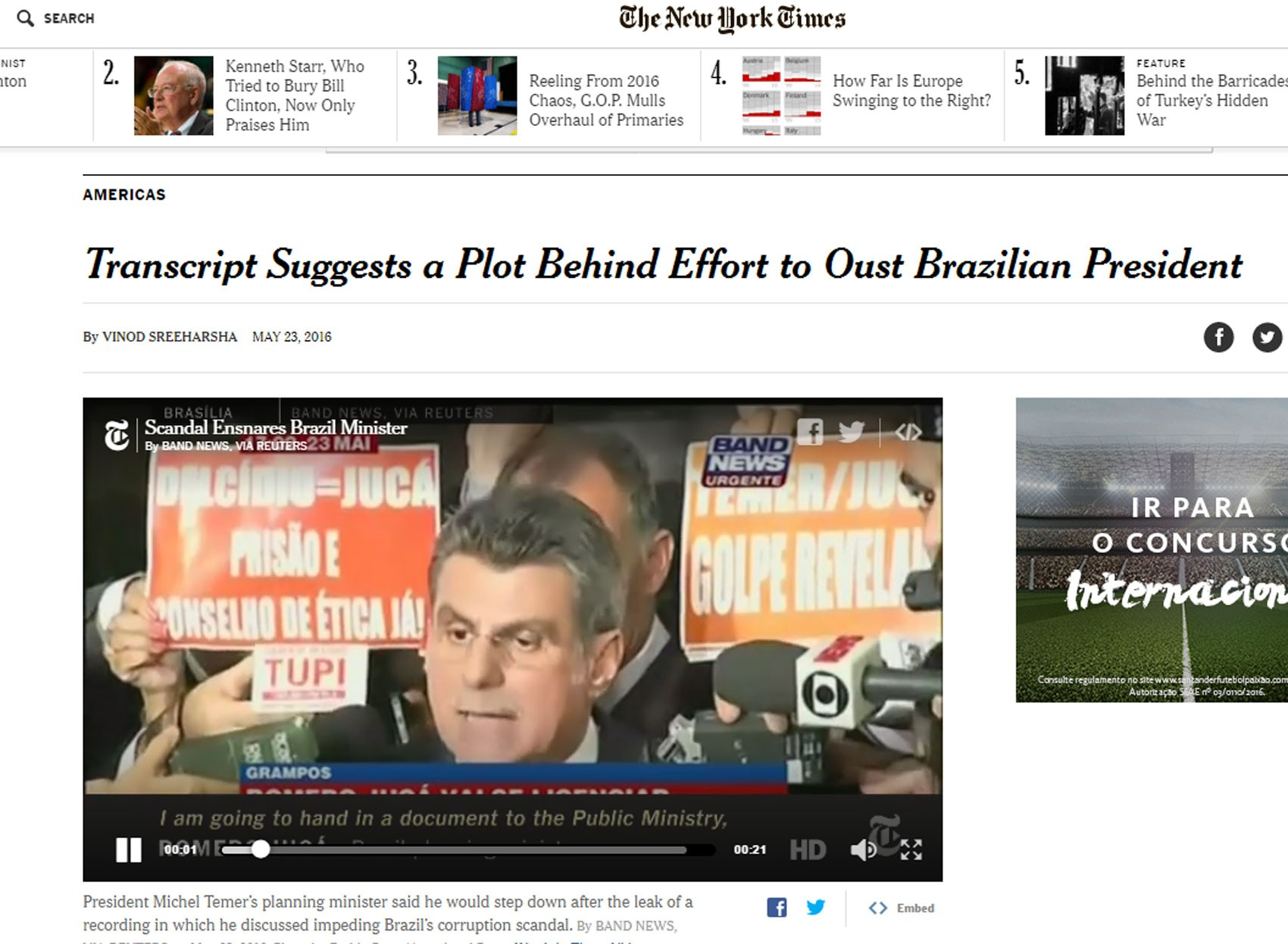 Caso também foi notícia no 'New York Times' (Foto: Reprodução/The New York times)