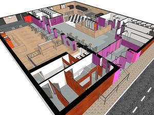 Perspectiva em 3D da boate Kiss baseada na planta baixa da boate (Foto: Reprodução/IGP)