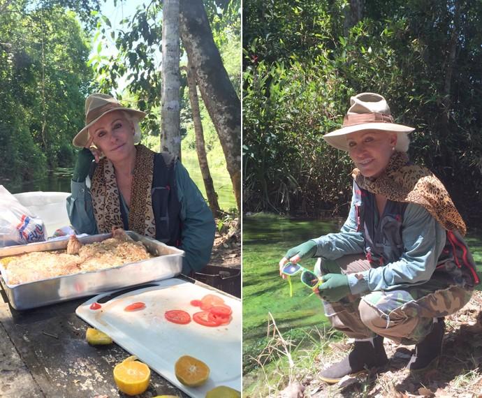 Durante o almoço e em momento de descanso na Amazônia (Foto: André Corga)