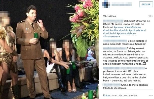 Foto do senador Wilder Morais (PP) fantasiado como PM repercutiu em redes sociais, Goiás (Foto: Reprodução/Instagram)