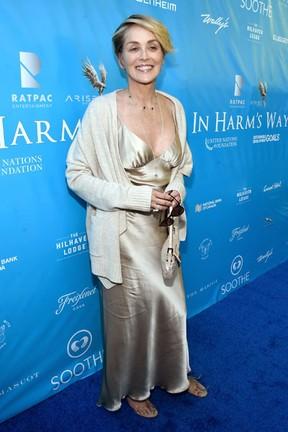 Sharon Stone em evento em Los Angeles, nos Estados Unidos (Foto: Alberto E. Rodriguez/ Getty Images/ AFP)