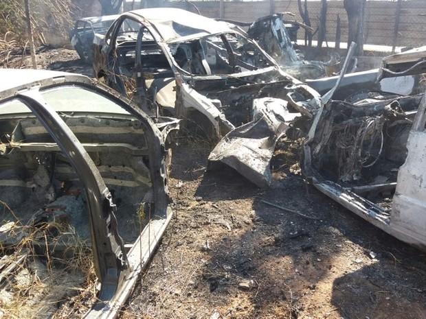 Segundo bombeiros, seis carros foram queimados (Foto: Cláudio Nascimento/ TV TEM)