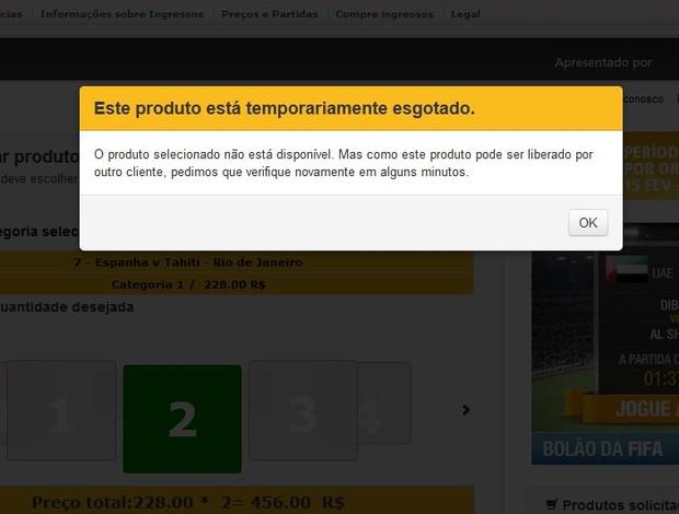 Mensagem de erro no site da Fifa para compra de ingressos (Foto: Reprodução)