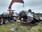 Caminhão carregado com placas de madeira tomba, e motorista morre