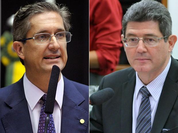 Montagem com o líder do PSD na Câmara, Rogério Rosso, e o ministro da Fazenda, Joaquim Levy (Foto: Alex Ferreira/Câmara dos Deputados)