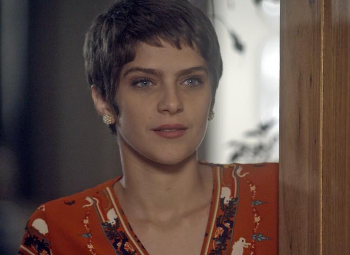 A cara da Letícia não é de felicidade... (Foto: TV Globo)
