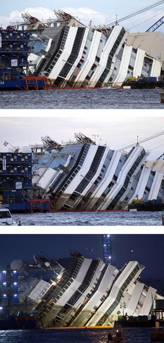 Fotos feitas nos horários 12:04, 16:33 e 17.52 mostram a operação no navio Costa Concordia (Foto: Andrew Medichini/AP)