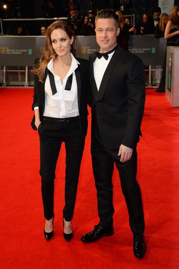 Angelina Jolie e Brad Pitt  no BAFTA, em Londres (Foto: Getty Images)