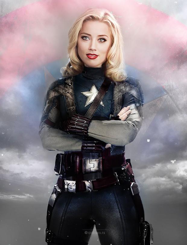 Capitão América, por Amber Heard (Foto: Ágnes Domokos/disimilis.tumblr.com)