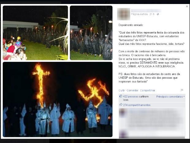 Festa de estudantes da Unesp, em Botucatu, é comparada com cerimônia da seita Ku Klux Klan (Foto: Reprodução/Facebook)