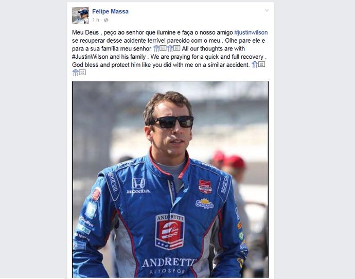 Felipe Massa reza por melhoras de Justin Wilson, da Fórmula Indy (Foto: Reprodução)