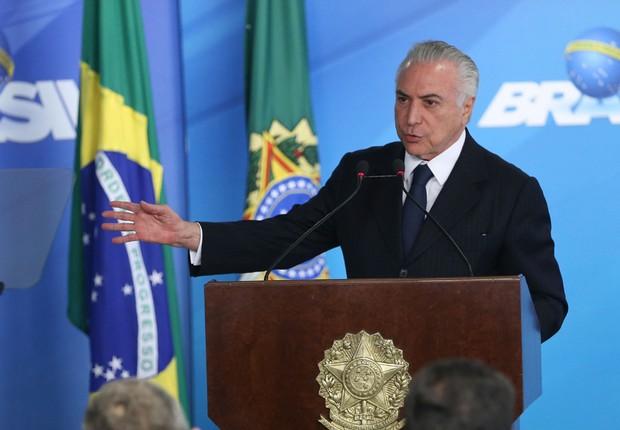 O presidente Michel Temer durante cerimônia no Palácio do Planalto (Foto: José Cruz/Agência Brasil)