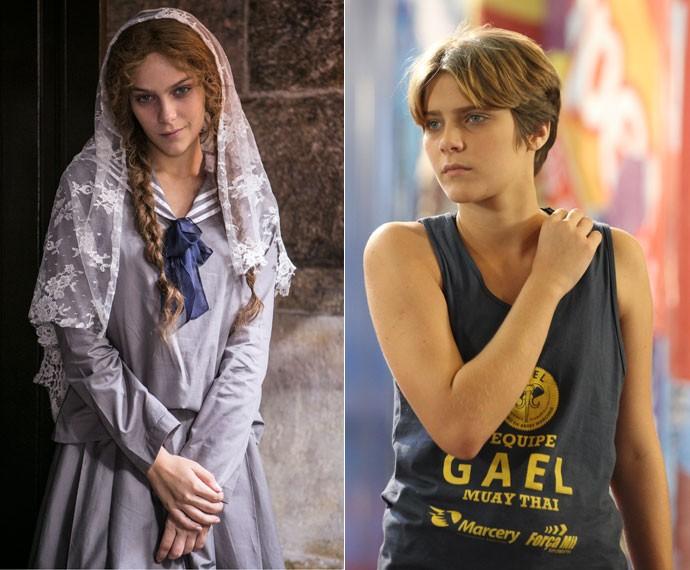 Quanta diferença! Isabella Santoni na pele de Karina, em 'Malhação - Sonhos' e caracterizada como Isabel, em 'Ligações Perigosas' (Foto: Inácio Moraes/Gshow)