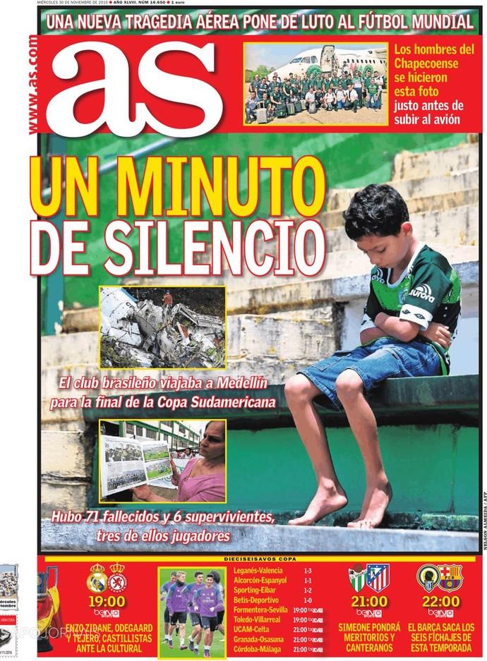 Capa do jornal espanhol As com homenagem à Chapecoense (Foto: Reprodução)