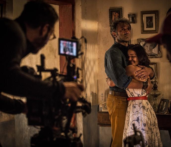 Domingos Montagner e Giullia Buscacio tinham uma relação de pai e filha dentro e fora do set (Foto: Inácio Moraes/Gshow)