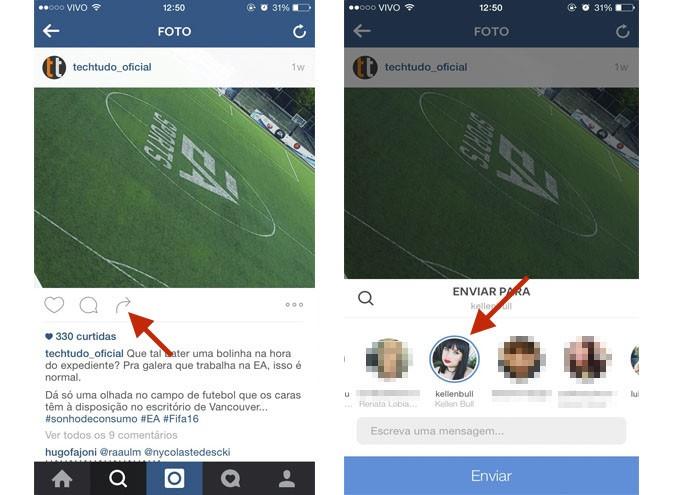Veja como mandar uma publicação para um usuário do Instagram (Foto: Gabriella Fiszman/ TechTudo)