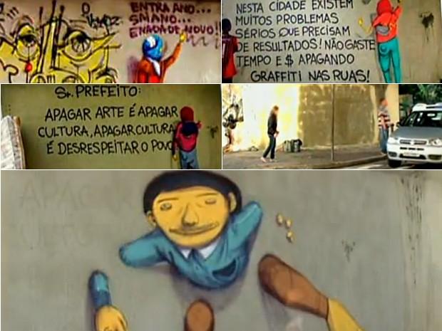 Antigo painel dos Gêmeos foi apagado pela Prefeitura; em seguida, os artistas grafitaram um protesto; a mensagem foi apagada e eles deixaram outro recado ao prefeito; o pedido de respeito à cultura foi pintado; 'Os Gêmeos' decidiram, então, gra fitar ourt (Foto: Reprodução/TV Globo)
