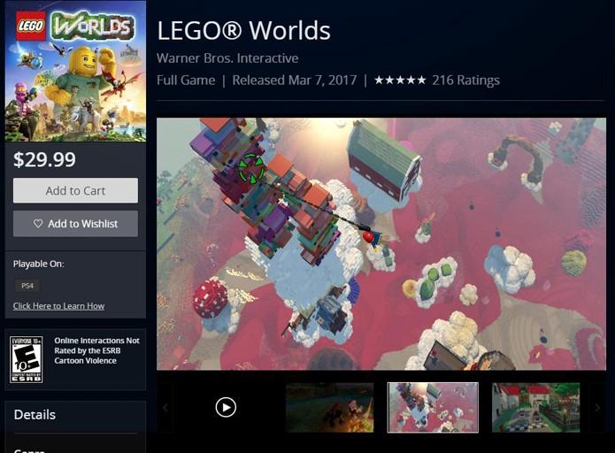 Página de LEGO Worlds na PlayStation Store (Foto: Reprodução/André Mello)