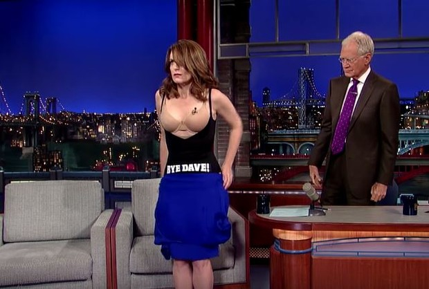 Tina Fey e David Letterman (Foto: Youtube / Reprodução)