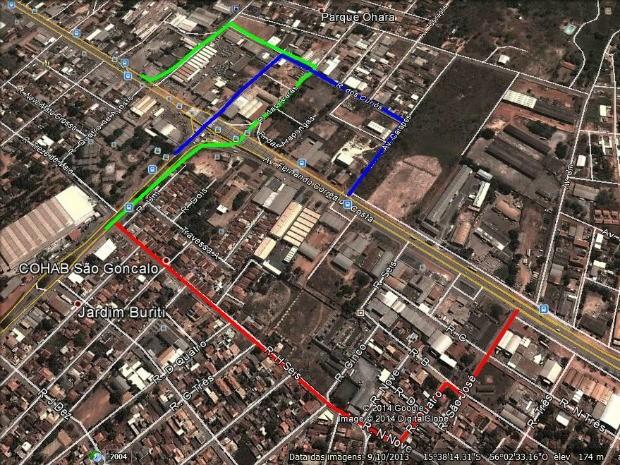 No esquema, rotas de desvio anunciadas pela Secopa: em vermelho, para quem vai da MT-040 para a região sul da cidade; em verde, da MT-040 para o centro de Cuiabá; em azul, da região sul para a MT-040. (Foto: Reprodução / Secopa)