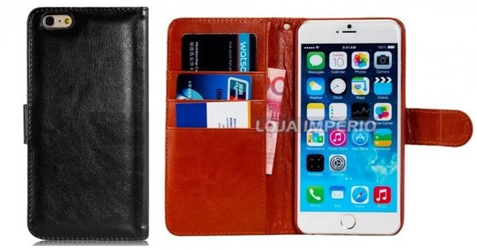 Flip case carteira de couro sintético para iPhone 6 Plus (Foto: Divulgação/Loja Império)