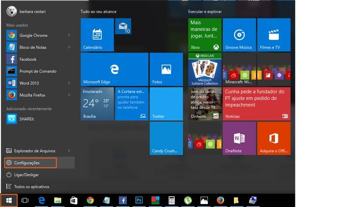 Acesse as configurações do Windows 10 (Foto: Reprodução/Barbara Mannara)