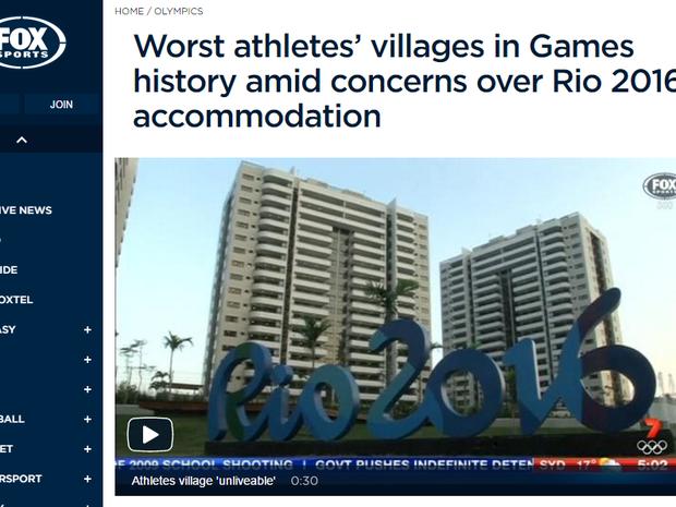 Fox Sports: graves preocupações com as acomodações dos atletas a duas semanas da Olimpíada (Foto: Reprodução internet)