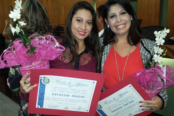 Caroline Aleixo e Vanessa Carlos recebem homenagem na Câmara Municipal de Uberlândia (Foto: Arquivo Pessoal)