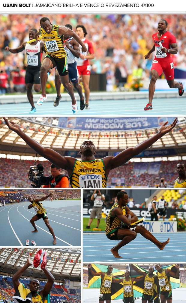 MOSAICO - Usain Bolt 4x100m revezamento (Foto: Agência Reuters)