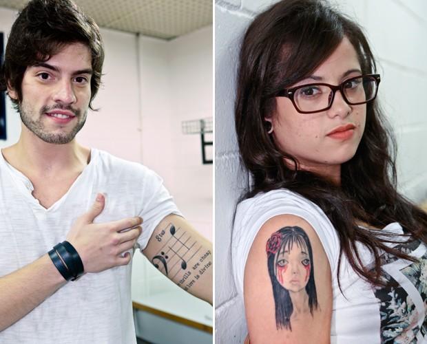 Rafael Furtado e Anne Marie mostram tatuagens musicais ao The Voice (Foto: The Voice Brasil/TV Globo)