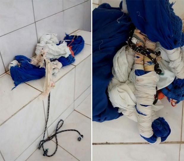 Depois que passaram por um buraco aberto no teto do pavilhão 2, detentos usaram uma 'teresa' para escalar o muro da penitenciária     (Foto: Divulgação/PM)