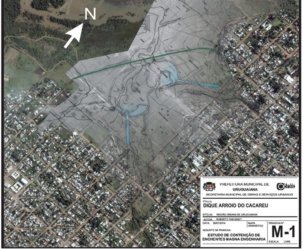 Projeto para construção de diques em Uruguaiana (Foto: Reprodução/PMU)