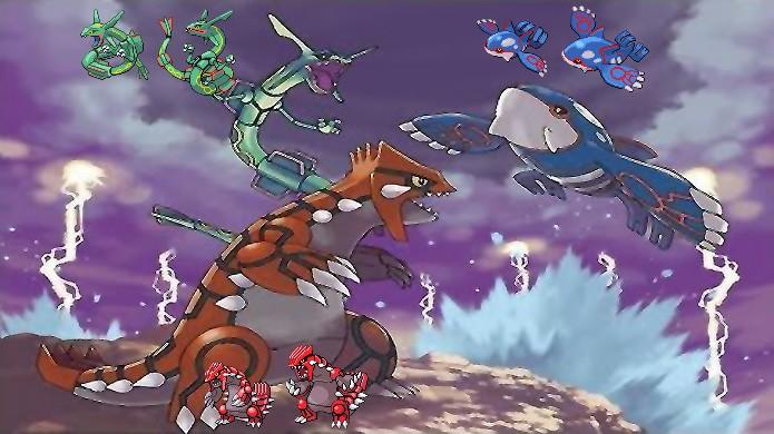 Groudon e Kyogre perpetuam o molde no qual dois lendários brigam e um terceiro, no caso Rayquaza, precisa apartar o combate em Pokémon Ruby & Sapphire (Foto: Reprodução/Rafael Monteiro)